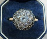 Gorgeous 18ct 18k gold Georgian antique 2ct paste vintage antique cluster ring